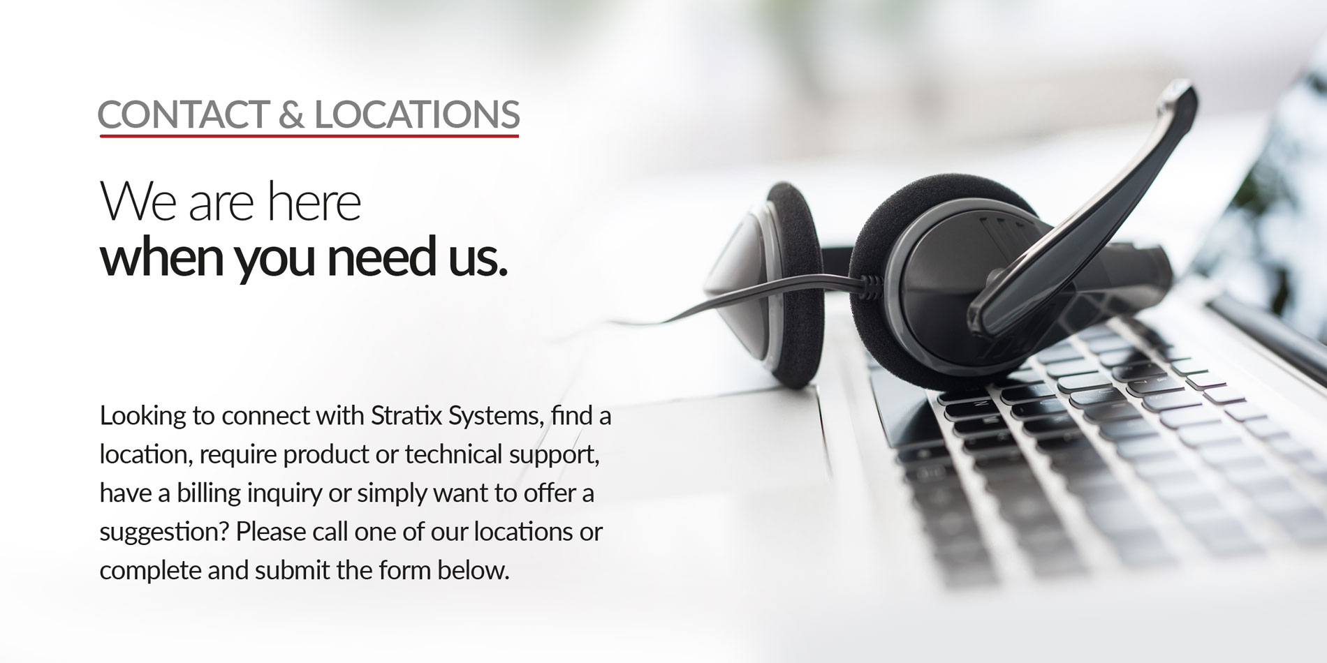 Stratix Systems Contact & Locations Header
