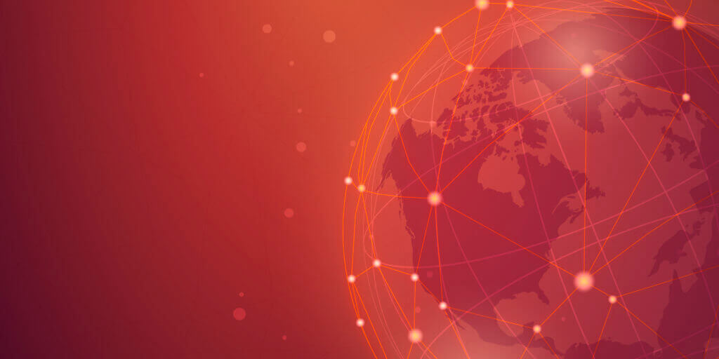 Worldwide connection red background illustration vector